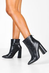 Bottines à talon évasé serpent - boohoo - Shopsquare