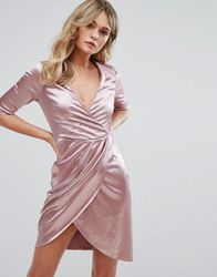 Robe Portefeuille En Satin  Rose