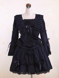 Milanoo Robe de lolita gothique Coton Dentelle Manches Fond Cloche Déguisements Halloween - milanoo.com - Modalova
