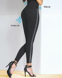 Legging push-up Leryn noir/argenté - Bas bleu - Modalova