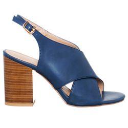 Sandales Monaco bleu marine - Talon 9 cm - Loretta by Loretta - Modalova