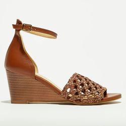 Sandales compensées en Cuir camel - Talon 7 cm - Apologie - Modalova
