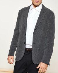Veste de costume ajustée noir chiné - Giorgio Armani - Modalova