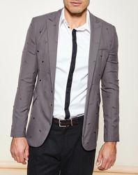 Veste de costume ajourée grise - Emporio Armani - Modalova