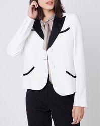 Veste de tailleur bicolore blanc/noir - John Galliano - Modalova