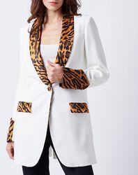 Veste de Blazer extrémités animalier blanc/camel/noir - John Galliano - Modalova