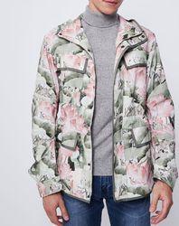 Parka légère imprimé floral kaki/rose - John Galliano - Modalova