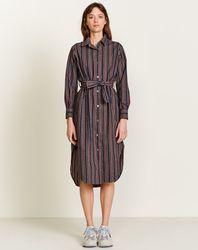 Robe chemise Georges en Coton rayée marine/bordeaux - Bellerose - Modalova