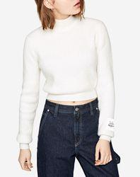 Pull col roulé Cropped blanc - Pepe Jeans - Modalova