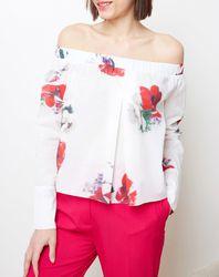 Top Off Shoulder imprimé floral blanc/rouge - Cacharel - Modalova