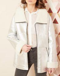 Manteau en peau lainée 100% Cuir d'agneau argenté - Hotel Particulier - Modalova