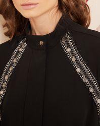 Chemise ornée de bijoux noire - Hotel Particulier - Modalova