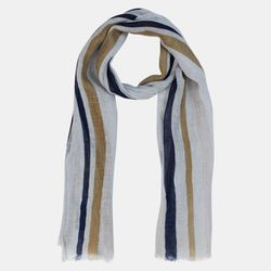 Echarpe 100% Lin Cheici rayée beige/bleu 184x52 cm - Hackett London - Modalova