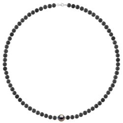 Collier Argent Perle de Tahiti ronde & Pierres de Lave - Pearl Addict - Modalova