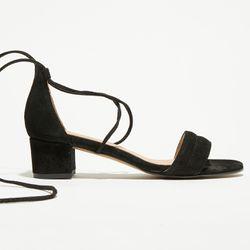 Sandales en Velours de Cuir Diana noires - Talon 5 cm - Apologie - Modalova