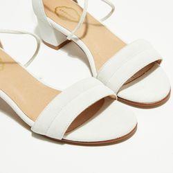 Sandales en Velours de Cuir Diana blanches - Talon 5 cm - Apologie - Modalova
