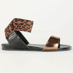 Sandales en Cuir Becky noir/doré - Liu-Jo - Modalova
