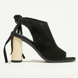 Sandales en Velours de Cuir Drune noires - Talon 10 cm - What For - Modalova
