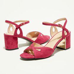 Sandales en Velous de Cuir Anne fuschia - Talon 7 cm - What For - Modalova