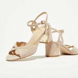 Sandales en Velours de Cuir Anne roses - Talon 7 cm - What For - Modalova