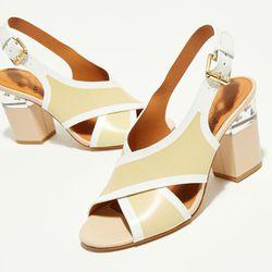 Sandales en Cuir Gaia beige/blanc- Talon 9,5 cm - What For - Modalova