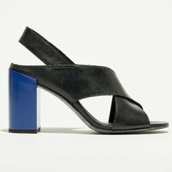Sandales en Cuir Isabelle noir/bleu - Talon 8.5 cm - What For - Modalova