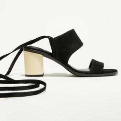 Sandales en Velours de Cuir Andy noires - Talon 7,5 cm - What For - Modalova