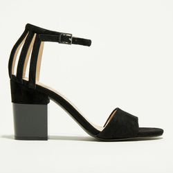 Sandales en Velours de Cuir Palerme noires - Talon 9.5 cm - What For - Modalova