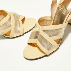 Sandales en Cuir Benji beiges - Talon 9 cm - What For - Modalova