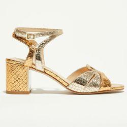 Sandales en Cuir Brigitte champagne - Talon 7 cm - What For - Modalova