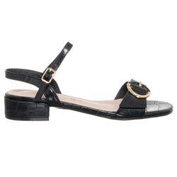 Sandales en Cuir Cocco noires - Talon 2.5 cm - Loretta by Loretta - Modalova