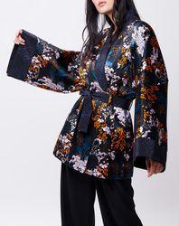 Kimono en Soie mélangée Mao noir/multicolore - John Galliano - Modalova