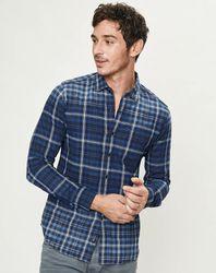 Chemise droite à carreaux bleu foncé - Replay - Modalova
