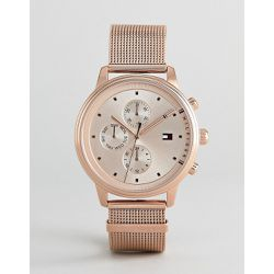 Montre chronographe avec bracelet en maille 38 mm - Or rose - Tommy Hilfiger - Shopsquare