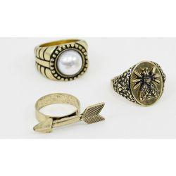 cbf31024c2aaa Lot de grosses bagues avec fausse perle - Or brûlé - ASOS DESIGN -  Shopsquare
