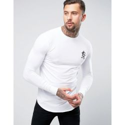 T-shirt moulant à manches longues - Blanc - Gym King - Shopsquare