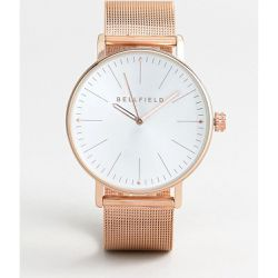 Montre avec bracelet en maille - Or rose - Bellfield - Shopsquare