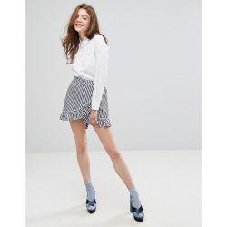 Mini-jupe portefeuille avec bordure à volants et carreaux vichy - Willow  and Paige - bab71ef3304