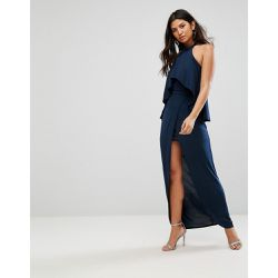 Robe longue à col montant et volant - Navy - Girl In Mind - Shopsquare