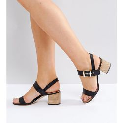 Dune London Wide Fit - Jany - Sandales en cuir à talons carrés avec boucles - Dune Wide Fit - Shopsquare