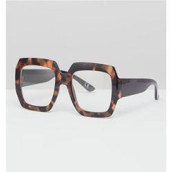 626e535e0b9647 Lunettes carrées oversize écaille de tortue à verres transparents - ASOS  DESIGN - Shopsquare