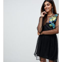 Robe patineuse brodée en tulle plumetis à manches longues - ASOS Tall - Shopsquare