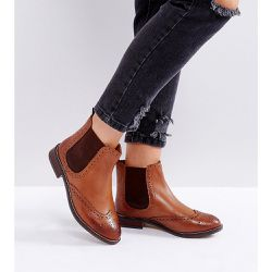 Dune London Wide Fit - Quentons - Bottines Chelsea plates en cuir - Dune Wide Fit - Shopsquare