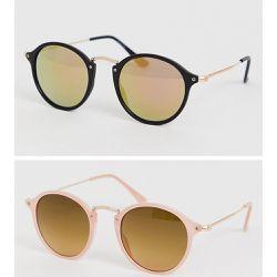 03ad3aca8b681 Lot de 2 paires de lunettes de soleil rondes à pont fin en métal - Écaille. ASOS  DESIGN ...