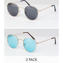 Lot de 2 paires de lunettes de soleil rondes avec verres fumés et turquoise  - ÉCONOMIE bffc41b1f0a3