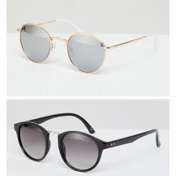 997342f824374c Lot de 2 lunettes de soleil rondes - Noir avec verres fumés et métalliques  or rose. ASOS DESIGN ...