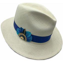 b5b868a732092 Chapeau panama en paille écru ruban interchangeable Linea et broche Gilda -  PANAMES AND CO -