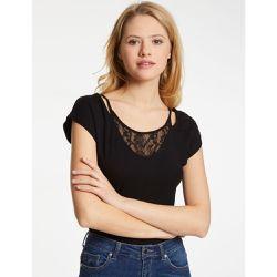 f9ccd54dbae T-shirt col avec dentelle - Morgan - Shopsquare