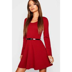 Robe Courte Patineuse Col Rond, Manches Longues - BOOHOO - Shopsquare