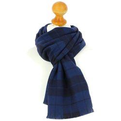 Echarpe à carreaux en laine d Australie, 35x180cm, lagune - TONY ET PAUL f3e27d31b6d